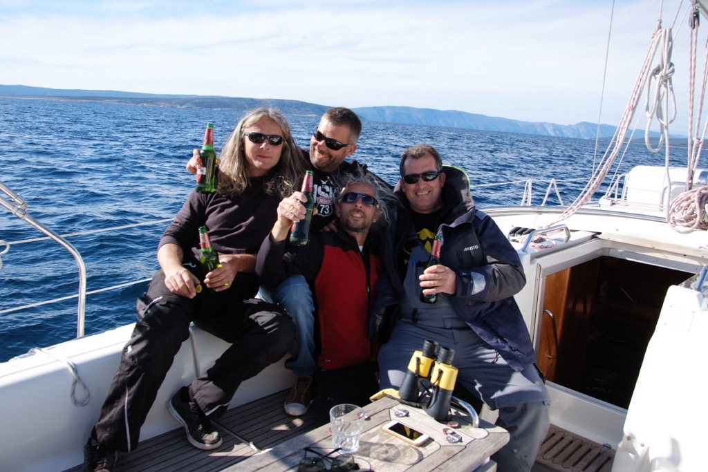 The winning team on boat Maestral - skipper Robert Gal, Tvrtko Abramušić, Davor Ivanović, Robert Bušić